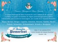 Câmara realizará Sessão Solene para início da 2ª PomerFest 2018
